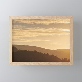 Hills at sunset in the Lake District, England Framed Mini Art Print