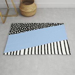 Polka Dots and Stripes Pattern (black/white/blue) Rug