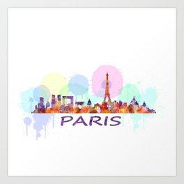 Paris City Skyline HQ, Watercolor Art Print