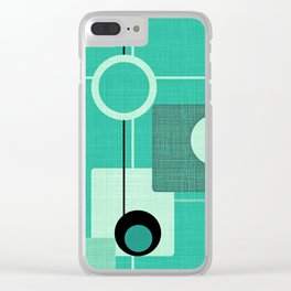 Orbs and Squares (aqua) Clear iPhone Case