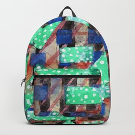 Dotted Green Rectangles on Top Pattern Backpack