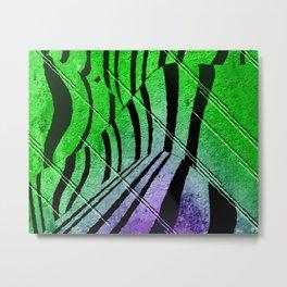 Abstract Neon Zebra Metal Print