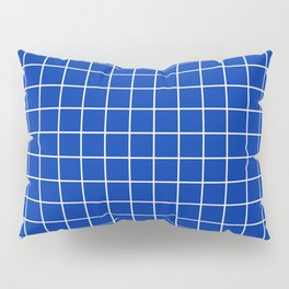 International Klein Blue - blue color - White Lines Grid Pattern Pillow Sham