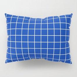 International Klein Blue - blue color - White Lines Grid Pattern Pillow Sham
