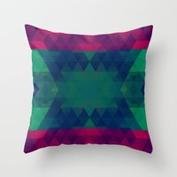 geo Throw Pillows featuring Geo by Catherine Stuckrath