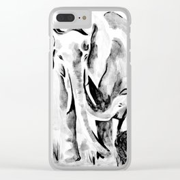 Elephant eskimo kiss black and white Clear iPhone Case