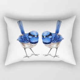 Splendid Blue Wrens, Pair Rectangular Pillow