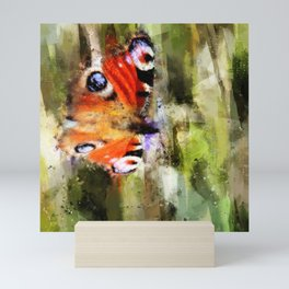 Peacock Butterfly On Abstracted Background Mini Art Print