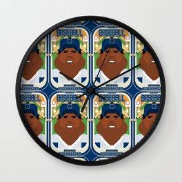 Baseball Blue Pinstripes - Rhubarb Pitchbatter - Hayes version Wall Clock
