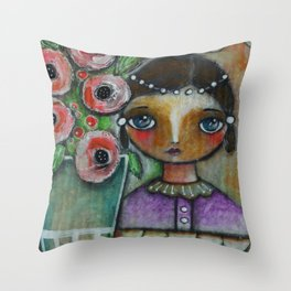 Eastern peony girl Throw Pillow