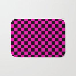 Large Hot Neon Pink and Black Racing Car Check Bath Mat