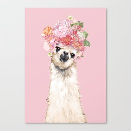 Llama with Flower Crown in Pink Canvas Print