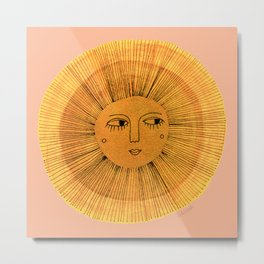 Sun Drawing Gold and Pink Metal Print
