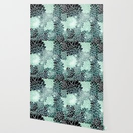 Space Dahlias Spearmint Green Wallpaper