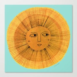 Sun Drawing - Gold and Blue Canvas Print
