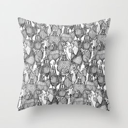 just chickens black white Throw Pillow