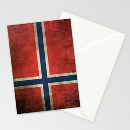Old and Worn Distressed Vintage Flag of Norway Stationery Cards