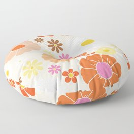 Groovy 60's Mod Pastel Flower Power Floor Pillow