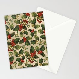 Gold and Red Holly Berrys Stationery Cards