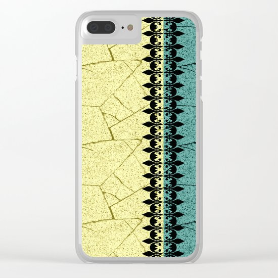 Yellow , turquoise background with decorative vertical stripe. Clear iPhone Case