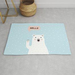 Cute Polar Bear in the Snow says Hello Rug
