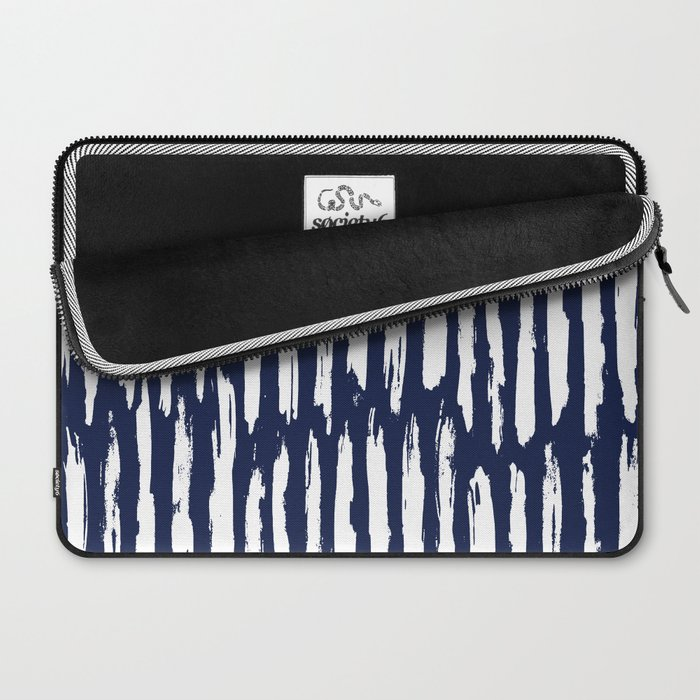 Vertical Dash White on Navy Blue Paint Stripes Laptop Sleeve