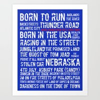springsteen Art Prints featuring Springsteen Top 25 Songs by Rising Trout Design