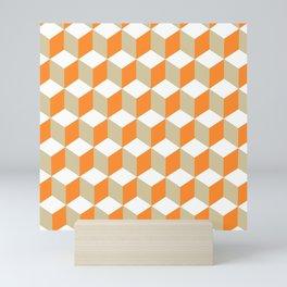 Diamond Repeating Pattern In Russet Orange and Grey Mini Art Print