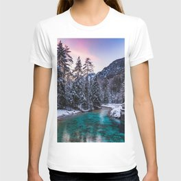 Magical sunset with turquoise river in Mojstrana, Slovenia T-shirt