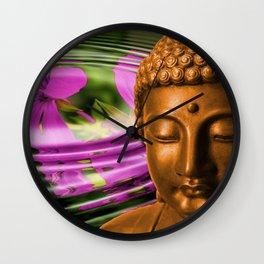 Buddha Head & Flowers in Rippling Water Wall Clock