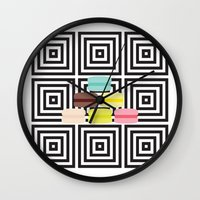 macarons Wall Clocks featuring macarons by antoloxia