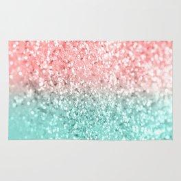 Summer Vibes Glitter #3 #coral #mint #shiny #decor #art #society6 Rug