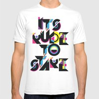 It's Rude To Stare White Mens Fitted Tee MEDIUM