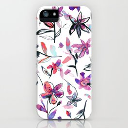 Ink flowers pattern - Viola iPhone Case