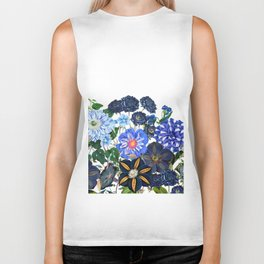 Vintage & Shabby Chic - Blue Flower Summer Meadow Biker Tank