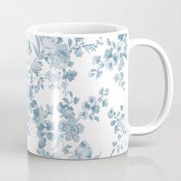 Vintage blue white bohemian elegant floral Coffee Mug