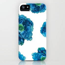 Blue Peony in Watercolor iPhone Case