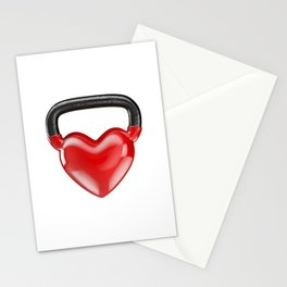 Kettlebell heart vinyl / 3D render of heavy heart shaped kettlebell Stationery Cards