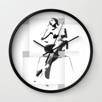 popart Wall Clocks featuring Chair PopArt by C R Clifton Art