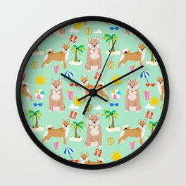 Shiba Inu summer beach vacation dog gifts pure breed pet portrait pattern Wall Clock