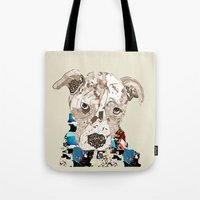 pit bull Tote Bags featuring a pit bull day by bri.buckley
