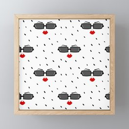 cute pattern with woman sunglasses and red lips Framed Mini Art Print