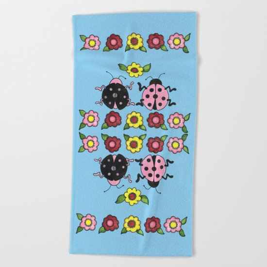 Ladybugs in Pink & Black Beach Towel