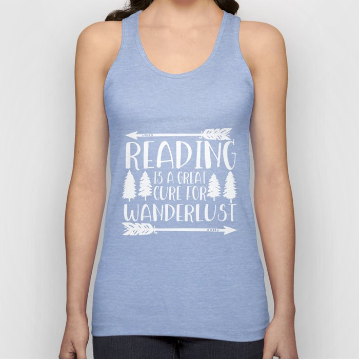 Reading is a Great Cure for Wanderlust (Green Background) Unisex Tank Top