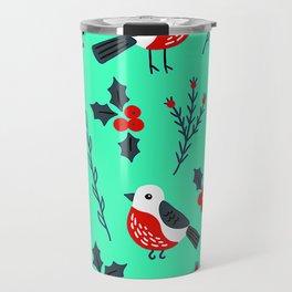 Christmas Holidays Bird Pattern With Holly Sprigs Travel Mug