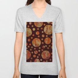 Orange Circles Against Dark Red Unisex V-Neck