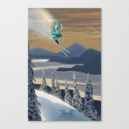 Ski Silver Star Canvas Print