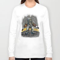 texas Long Sleeve T-shirts featuring Texas Chainsaw Astronaut by Nick Volkert