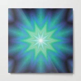 Teal Mint Purple Starburst Metal Print