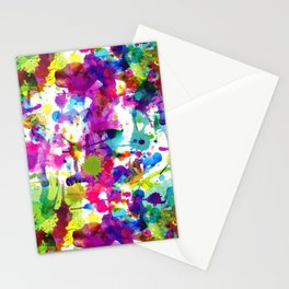 Brightly Colored Paint Splatters Stationery Cards